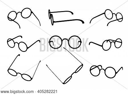 Glasses Silhouette Set With Round Lens. Isolated Black On White Icons For Optics Shop. Various Point
