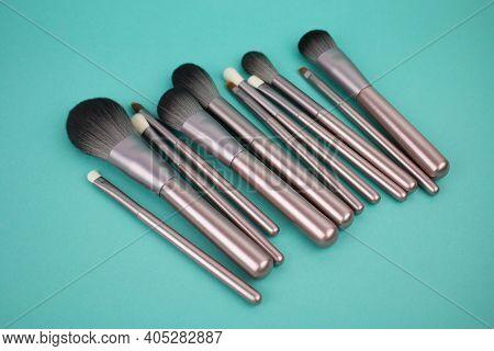 Cosmetics Make-up Brushes Set, Top View. Beauty Cosmetic Makeup Product Layout. Fashion Woman Make U