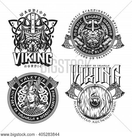 Medieval Nordic Viking Emblems Set With Strong Scandinavian Warriors Heads Beautiful Valkyrie In Win