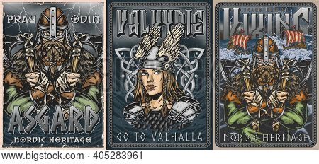 Vikings Colorful Vintage Posters Set With Bearded Scandinavian Medieval Warrior Holding Battle Axes