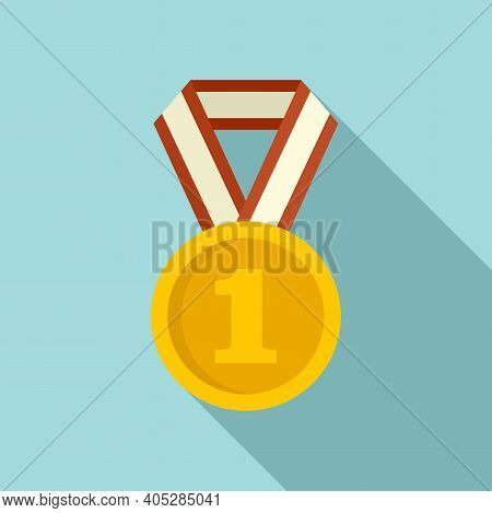 Dog Champion Medal Icon. Flat Illustration Of Dog Champion Medal Vector Icon For Web Design