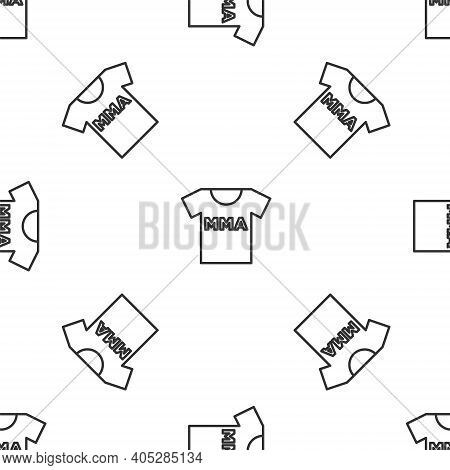 Grey Line T-shirt With Fight Club Mma Icon Isolated Seamless Pattern On White Background. Mixed Mart