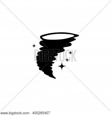 Storm Hurricane Whirlwind, Magic Tornado. Flat Vector Icon Illustration. Simple Black Symbol On Whit