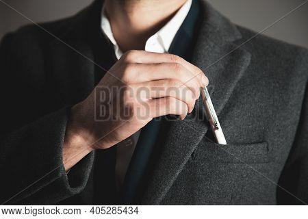Business Man Hand Pen On Suit Pocket