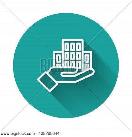 White Line Skyscraper Icon Isolated With Long Shadow Background. Metropolis Architecture Panoramic L