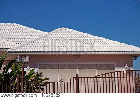 The Roof Is Covered With Tiles Roof Tile Pattern Over Blue Sky