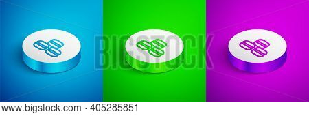 Isometric Line Macaron Cookie Icon Isolated On Blue, Green And Purple Background. Macaroon Sweet Bak