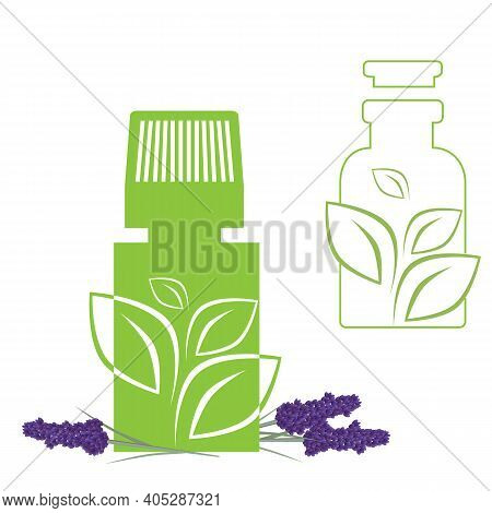 Set Of Green Apothecary Medical Lavender Bottles, Ecology, Plant, Bio. Vector Supplies