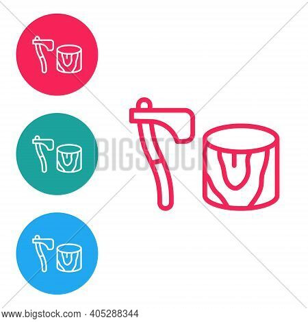 Red Line Wooden Axe In Stump Icon Isolated On White Background. Lumberjack Axe. Axe Stuck In Wood. C