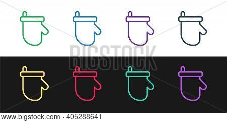 Set Line Sauna Mittens Icon Isolated On Black And White Background. Mitten For Spa. Vector