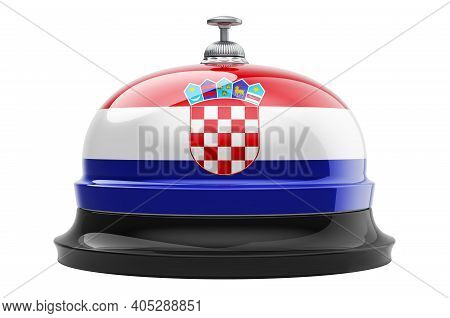 Reception Bell With Croatian Flag, 3d Rendering Isolated On White Background