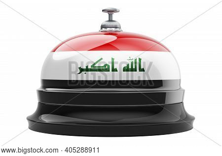 Reception Bell With Iraqi Flag, 3d Rendering Isolated On White Background