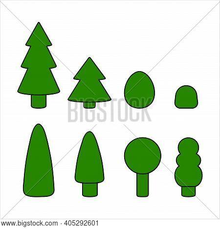 Tree Nature, Pine, Branch Green, Foliage Bush, Heartwood, Hardwood. Simple Cute Silhouette Symbol Si
