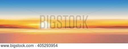 Sunset With Dusk Sky In Gloden Yellow, Orange And Blue Sky In Evening,tropical Sea Sunrise With Colo
