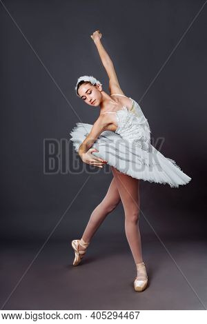 Classical Ballet Dancer Portrait. Beautiful Graceful Ballerina In White Tutu From Swan Lake Practice