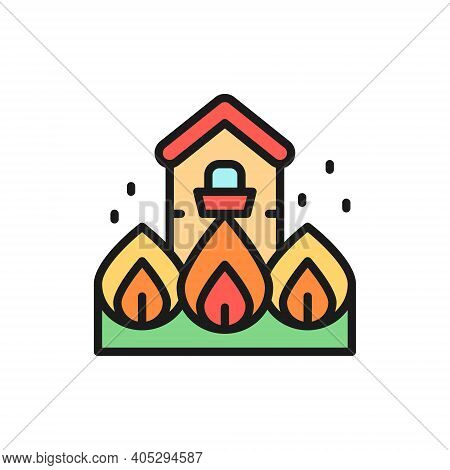 Burning House, Fire, Natural Disaster, Catastrophe Flat Color Line Icon.
