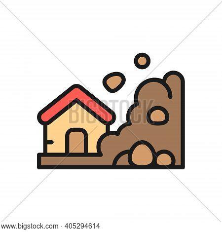 Rock Fall, Landslide, Natural Disaster, Catastrophe Flat Color Line Icon.