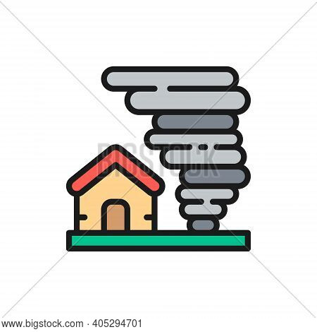 Tornado, Hurricane, Natural Disaster, Catastrophe Flat Color Line Icon.