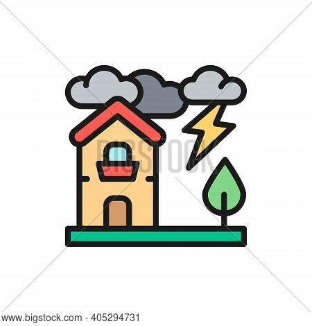 Thunderstorm, Lightning, Natural Disaster, Catastrophe Flat Color Line Icon.