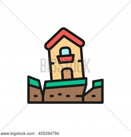 Earthquake, Seism, Catastrophe, Natural Disaster Flat Color Line Icon.