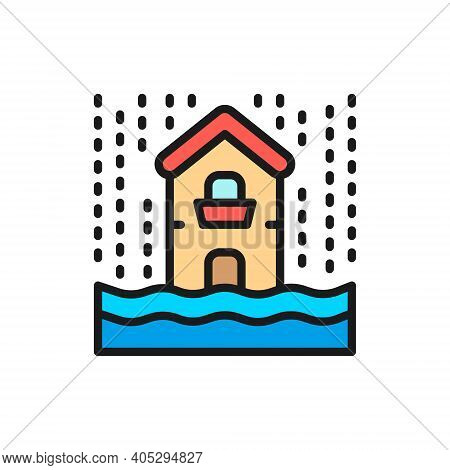 Rain, Flooding, Catastrophe, Natural Disaster Flat Color Line Icon.