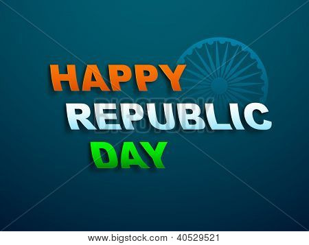 Indian National Flag color background with text Happy Republic Day. EPS 10.
