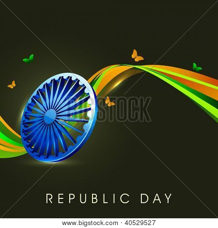 Indian flag color creative wave background with 3D Asoka wheel and butterflies. EPS 10.