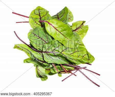 Heap Of Fresh Leaves Of Green Chard Leafy Vegetable (mangold, Beet Tops) Isolated On White Backgroun