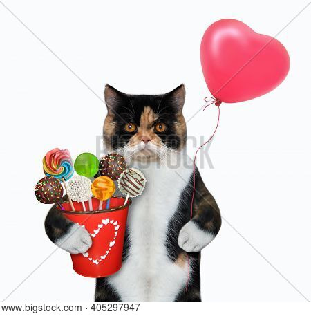 A Colored Cat Holds A Red Pail With Sweets And A Heart Shaped Balloon. White Background. Isolated.