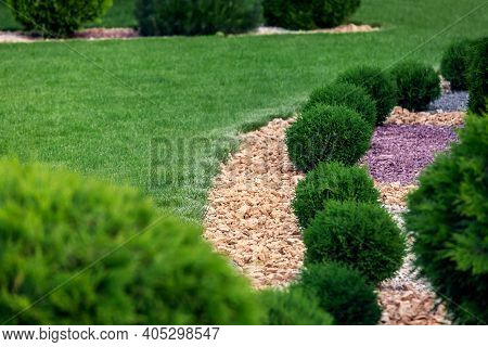 Landscape Bed Of Garden With Environment Growth Bushes Gravel Mulching By Natural Rock Way On A Day