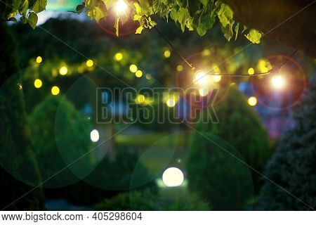 Illumination Holiday Lights Glare On Garden With Electric Garland Bulbs Of Warm Light Glow With Roun