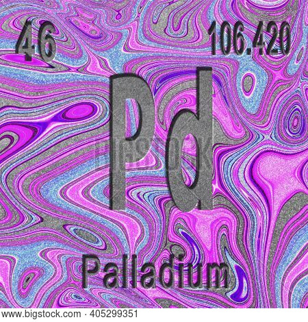 Palladium Chemical Element, Sign With Atomic Number And Atomic Weight, Purple Background, Periodic T