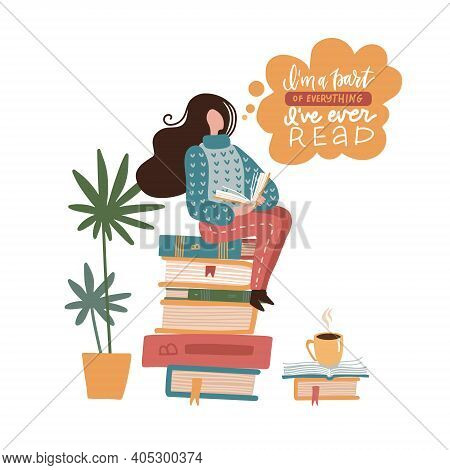 Young Woman Sitting On Books Stack And Reading Interesting Book. Flat Vector Design For Libraries, E