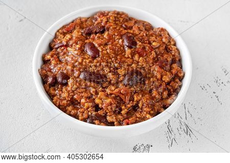 Bowl Of Chili Con Carne On White Background