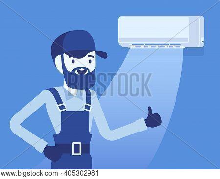 Air Conditioner Unit Proper Work, Use, Regular Maintenance. Professional Repair Technician Done His