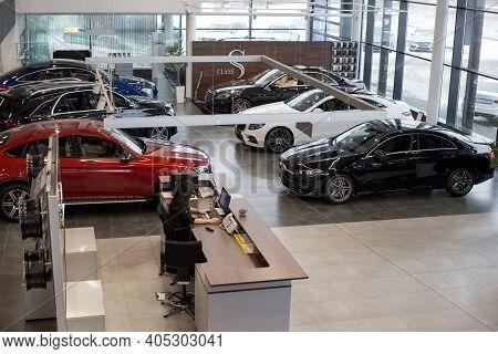 Russia, Izhevsk - February 20, 2020: Mercedes-benz Showroom. New Prestigious Cars In The Dealer Show
