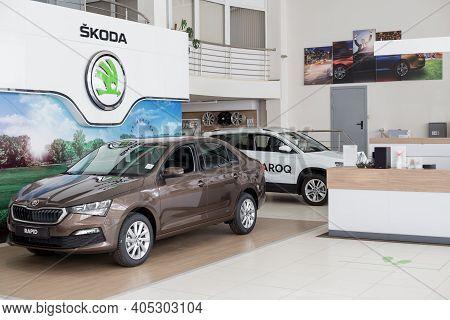 Russia, Izhevsk - September 25, 2020: Skoda Showroom. New Modern Rapid Car In The Dealer Showroom. V