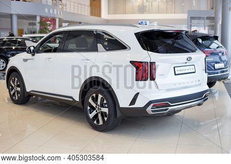 Russia, Izhevsk - December 28, 2020: Kia Showroom. New Modern Sorento Car In Dealer Showroom. Back A