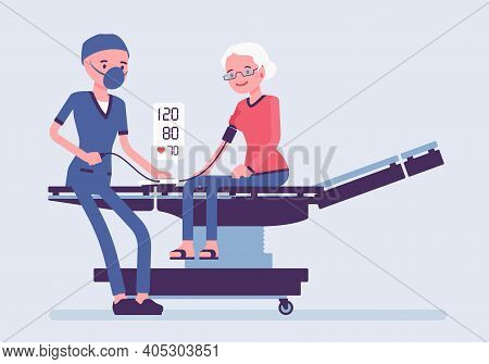 Blood Pressure Measurement, Medicine Test For Senior Woman In Clinic. Male Doctor In Hospital Checki