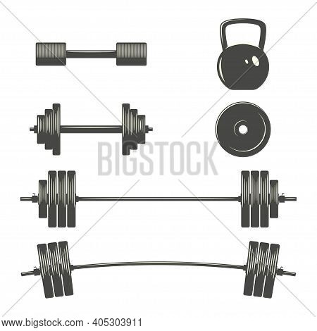 Monochrome Set Of Dumbbels, Barbells, Weight Lifting Sports Equipment. Bodybuilding, Gym, Cross Fit,