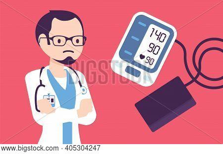 Wrist Blood Pressure Monitor Tonometer With High Measurement Result. Digital Display Showing Bad Met