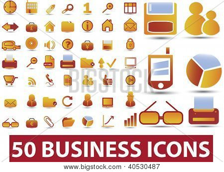 50 business icons set, vector