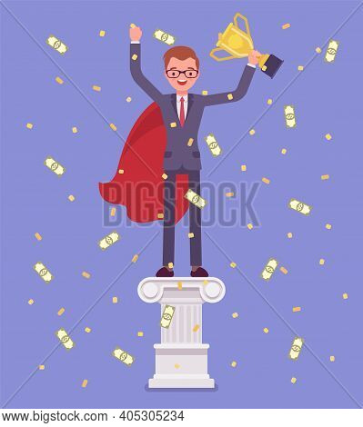 Employee Of Month, Man On Pedestal. Happy Worker Having An Outstanding Performance In Job, Business,