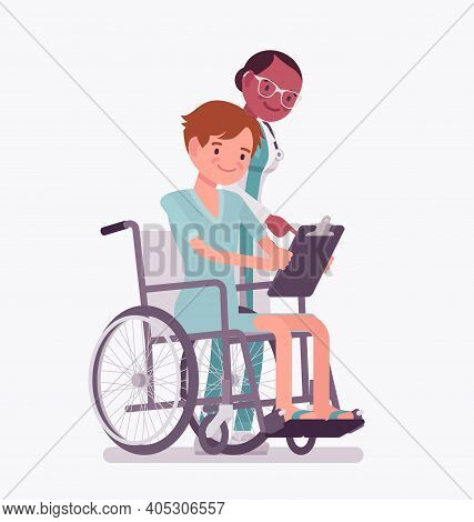 Disability Insurance Compensation Benefit For Disabled Wheelchair Man. Sick, Injured Patient, Health