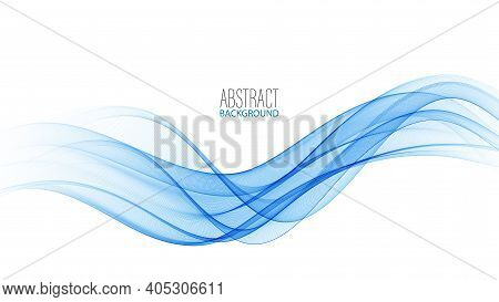 Blue Modern Abstract Lines Swoosh Certificate Speed Smooth Wave Border Background. Vector Illustrati