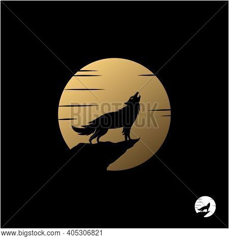 Howling Wolf With Golden Moon Illustration Logo Design
