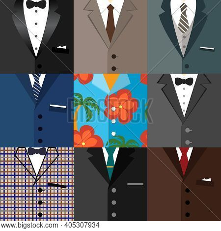Business Decorative Icons Set Of Classic Modern Dude Hipster Tuxedo Suits With Ties Bows And One Alo