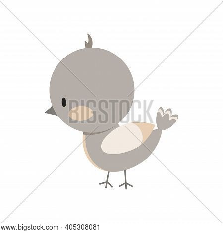 Bird Icon Isolated On White Background. Cute Small Sparrow Bird Sign. Vector Illustration In Flat Ca
