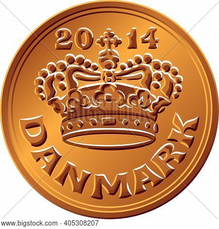 Danish Money Tin-bronze 50 Ore Coin. Krone, Official Currency Of Denmark, Greenland, And The Faroe I