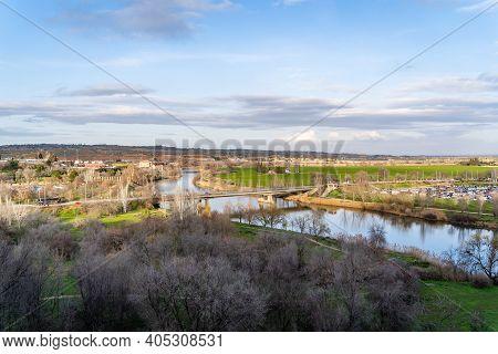 Bridge Over Tagus River In Toledo, Spain On Sunny Spring Day